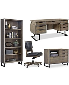Gidian Home Office 4- Pc. Set (Executive Desk, Office Chair, File, Open Bookcase)