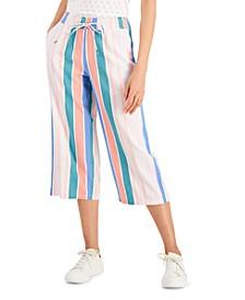 Petite Striped Gauze Pants, Created for Macy's