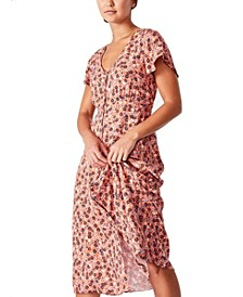Women's Woven Cassie Shorts Sleeve Midi Dress