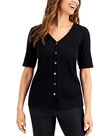 Ribbed Button Top, Created for Macy's