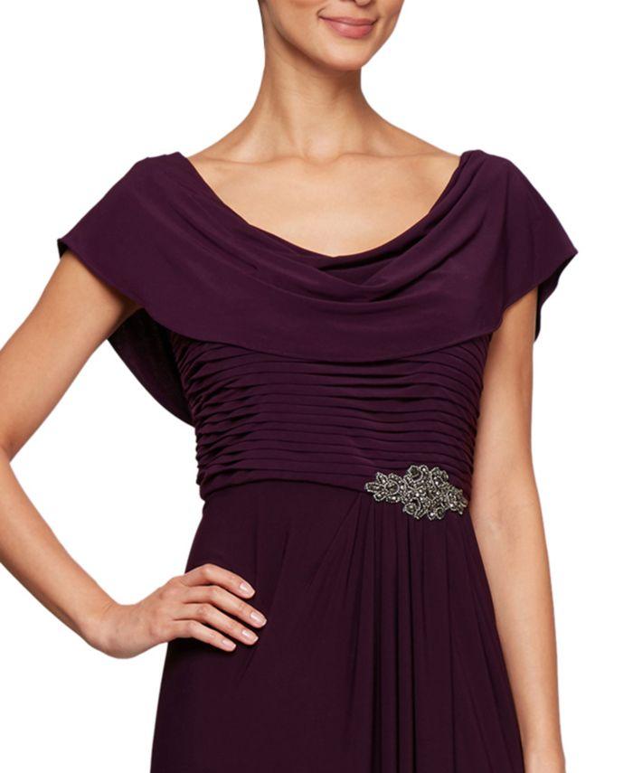 Alex Evenings Petite Embellished-Waist Cowlneck Gown & Reviews - Dresses - Petites - Macy's