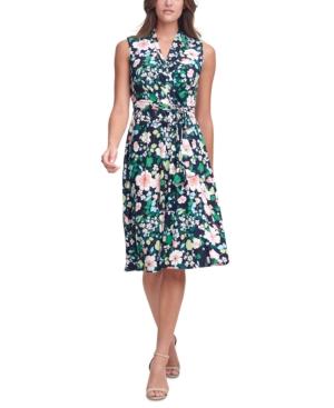 Tommy Hilfiger Dresses FLORAL-PRINT FAUX-WRAP DRESS