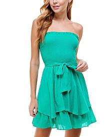 Juniors' Ruched-Top Tie-Waist Dress
