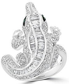 EFFY® Diamond (1-3/8 ct. t.w.) & Emerald Accent Alligator Ring in 14k White Gold