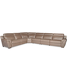 CLOSEOUT! Julius 6-pc Leather Sectional Sofa with 2 Power Recliners, Created for Macy's