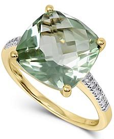 Green Quartz (6 ct. t.w.) & Diamond (1/20 ct. t.w.) Statement Ring in 14k Gold