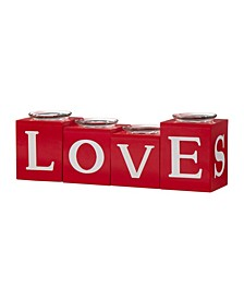 Valentine's Love, XOXO, Hugs, Kiss All Round Candle Holder Table Decor, Set of 4
