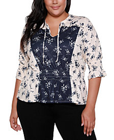 Belldini Black Label Plus Size 3/4 Sleeve Floral V-Neck Ruffle Peplum Top