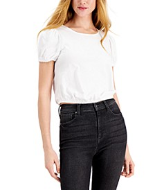 Puff-Sleeve Open-Back Cotton Top, Created for Macy's