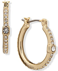 Crystal Cube Small Hoop Earrings, .9""