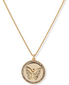 "Gold-Tone Pavé Butterfly Pendant Necklace, 16"" + 3"" extender"
