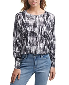 Printed Cropped Cotton Sweater