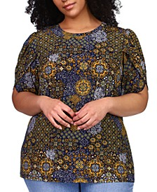 Plus Size Patchwork-Print Petal-Sleeve Top