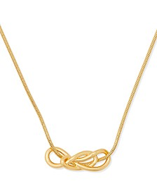 """Gold-Tone Loop Knot Snake-Chain Collar Necklace, 16"""" + 3"""" extender"""