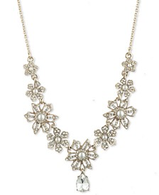 """Gold-Tone Crystal & Imitation Pearl Flower Lariat Necklace, 16"""" + 3"""" extender"""