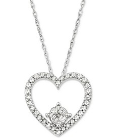 Diamond Heart Pendant Necklace (1/4 ct. t.w.) in 10k White Gold