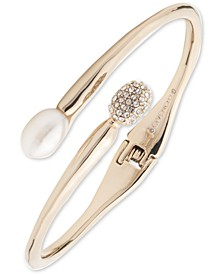 Gold-Tone Crystal & Imitation Pearl Bypass Cuff Bracelet