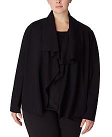 Plus Size Draped Open-Front Jacket
