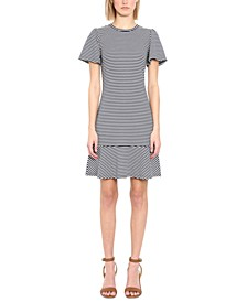 Striped Flutter-Sleeve Dress, Regular & Petite