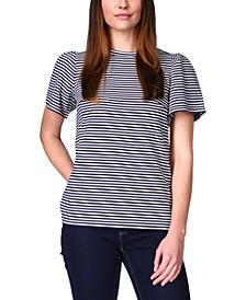 Feeder-Stripe Flutter-Sleeve Top, Regular & Petite Sizes