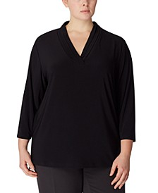 Plus Size Pleat-Neck 3/4-Sleeve Top