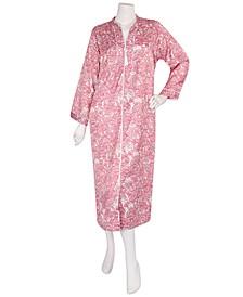 Woven Long Satin Zipper Robe