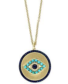"EFFY® Multi-Gemstone Evil Eye 18"" Pendant In 14k Gold"