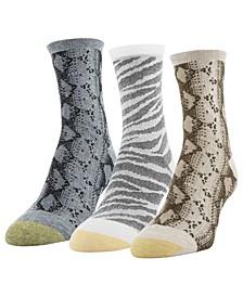 Women's 3-Pk. Designer Collection Snakeskin & Tiger Crew Socks