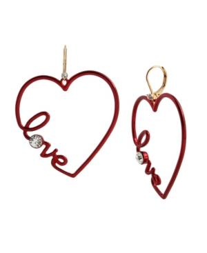 Scripted Heart Drop Earrings