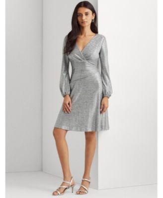 로렌 랄프로렌 Lauren Ralph Lauren Metallic Long-Sleeve Dress,Dark Gray Silver