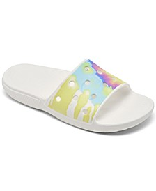 Women's Tie-Dye Graphic Classic Slide Sandals from Finish Line