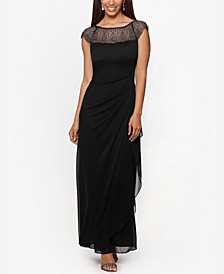 Beaded Mesh-Yoke Gown