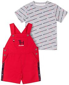 Baby Boys 2-Pc. Logo T-Shirt & Overalls Set