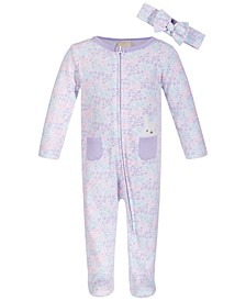 Baby Girls 2-Pc. Cotton Bunny Coveralls & Headband Set, Created for Macy's