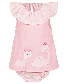 Baby Girls Dino Sisters Cotton Sunsuit, Created for Macy's
