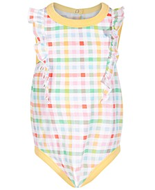 Baby Girls Multicolor Gingham-Print Cotton Bodysuit, Created for Macy's