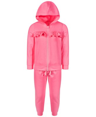 Toddler Girls 2-Pc. Fleece Ruffled Track Suit Set, Created for Macy's