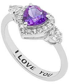 Women's 'I Love You' Message Ring in Sterling Silver