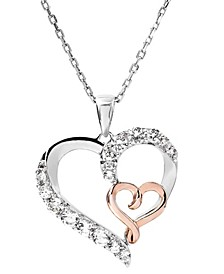 Women's 14K Rose Gold Plated Heart Pendant Necklace in Sterling Silver
