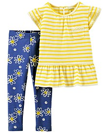 Toddler Girls 2 Piece Daisy Jersey Tee Legging Set