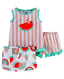 Toddler Girls 3 Piece Watermelon Loose Fit Pajama Set