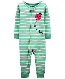 Toddler Girls Ladybug Snug Fit Footie Pajama Set