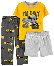 Toddler Boys 3 Piece Construction Loose Fit Pajama Set