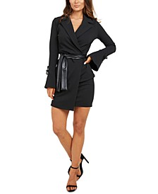 Faux-Leather Tie Jacket Dress