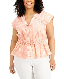 INC Plus Size Cotton Printed Ruched-Seam V-Neck Top, Created for Macy's