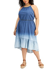INC Plus Size Halter Tiered Denim Midi Dress, Created for Macy's