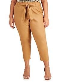 Plus Size Tie-Belt Cropped Pants