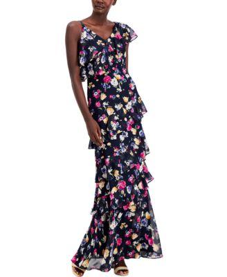 로렌 랄프로렌 Lauren Ralph Lauren Floral Crinkled Georgette Gown,Navy Pink Multi