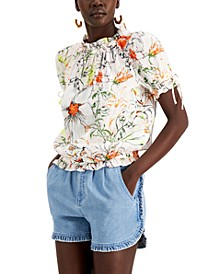 INC Floral-Print Linen Tie-Sleeve Blouse, Created for Macy's