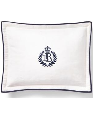 "Lauren Ralph Lauren Carter Embroidery 12"" X 16"" Decorative Throw Pillow Bedding In White And Navy"